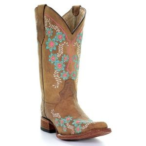 New Circle G Leather Cowgirl Boots Embroidered